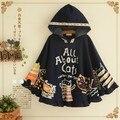 Cat capucha capa prendas de vestir exteriores de impresión chaquetas de mezclilla mujer fringe kimono abrigo mujer otoño de lentejuelas damas capa de la chaqueta de vuelo