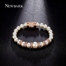 NEWBARK Simulated Pearl Bracelet Charm 18cm Rose Gold Plated Bracelets & Bangles Bracelets For Women Cocktail Bijoux Gift