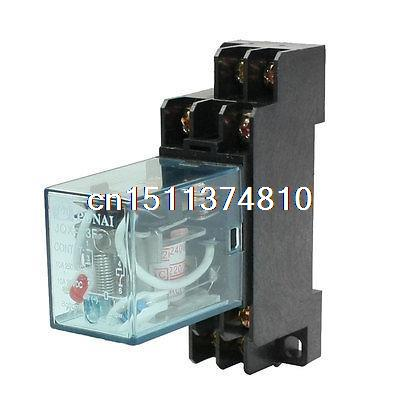 цена на JQX-13F DIN Rail 220/240AC Coil DPDT 8P General Purpose Power Relay w Base