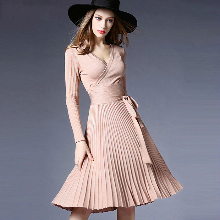 New 2018 Spring Female Dress Sexy V Neck Knitted Dress Women Elegant Solid Slim Casual Work