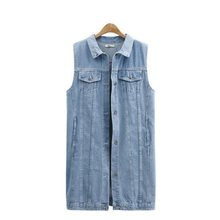 2019 Spring Denim Vest Women Formal Colete Coat Vintage Jeans Sleeveless Turn-down Collar Woman Clothing Plus Size XL-5XL XL233(China)