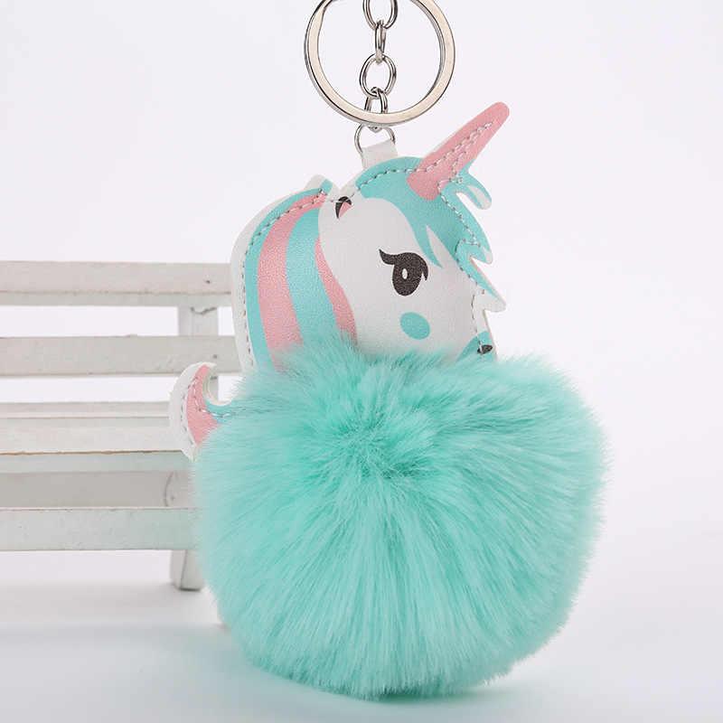 Bonito unicórnio de pelúcia brinquedos para crianças presente brinquedos de boneca de pelúcia bola de pele pompom mini pingente de pelúcia chaveiro meninas saco pendurar decoração