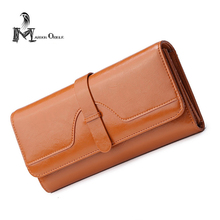 Genuine leather wallet women luxury brown purse trifold card wallet cowhide real leather brand clutch wallet genuine leather