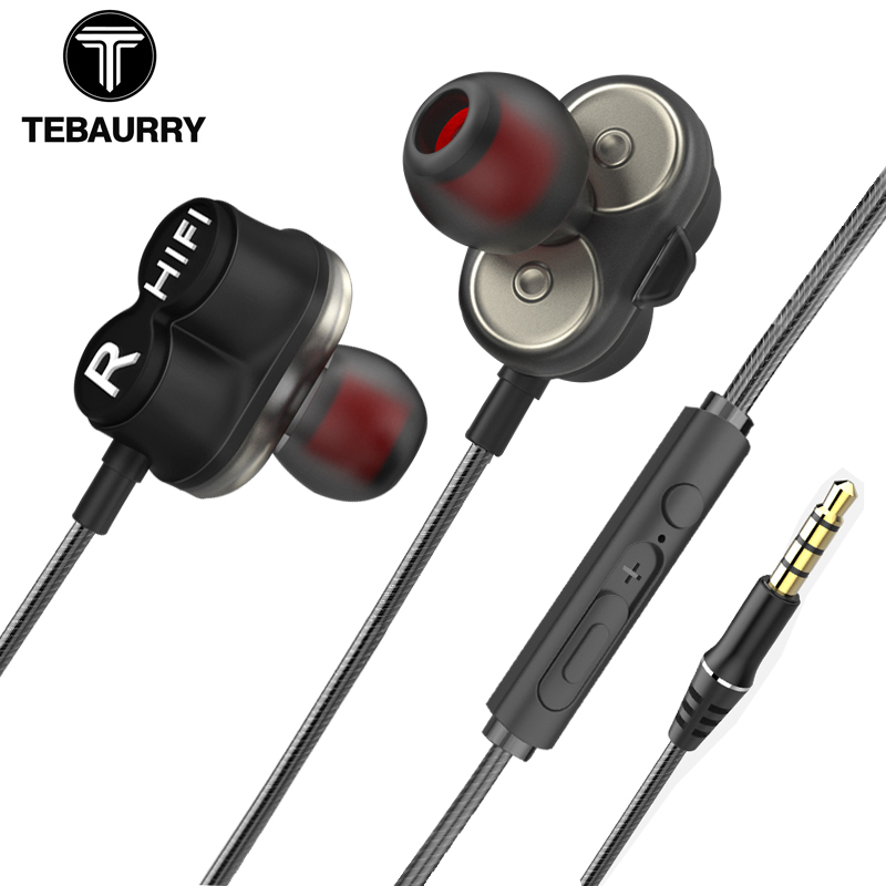 TEBAURRY TB6 Dual Unit Driver Earphone Wired HIFI Stereo Earphone For phone iphone 4 Speakers Super Bass Headset with Microphone