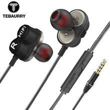 TEBAURRY TB6 כפולה יחידה נהג אוזניות Wired HIFI סטריאו אוזניות עבור טלפון iphone 4 רמקולים סופר בס אוזניות עם מיקרופון