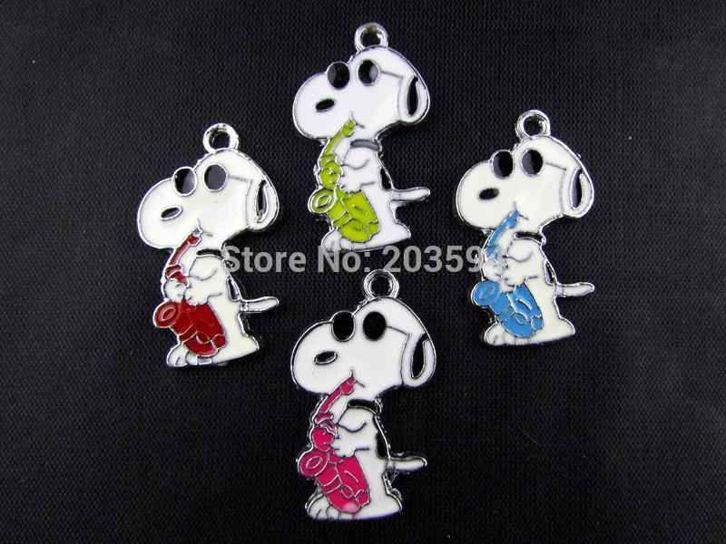 AE256 20 Stücke Mix Farbe Legierung metall Emaille Hund Charms Anhänger 32x19mm