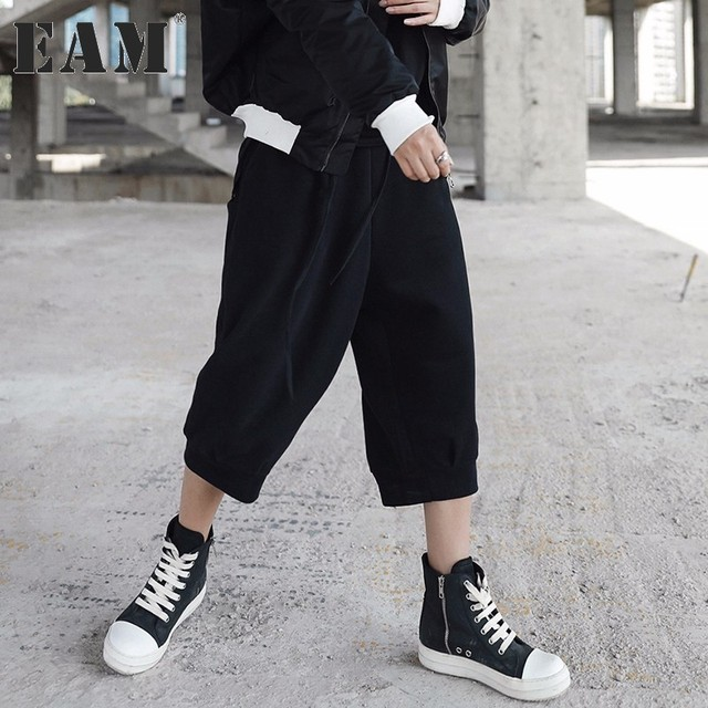 [EAM] 2018 new spring high waist solid color black loose wide leg pants women trousers  fashion tide JD17401S