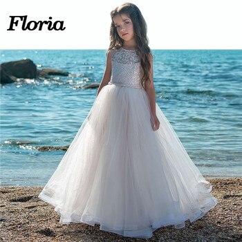 Cute Flower Girl Dresses For Weddings 2018 New Vestido daminha Sleeveless Kids Evening Gowns First communion Dresses For Girls