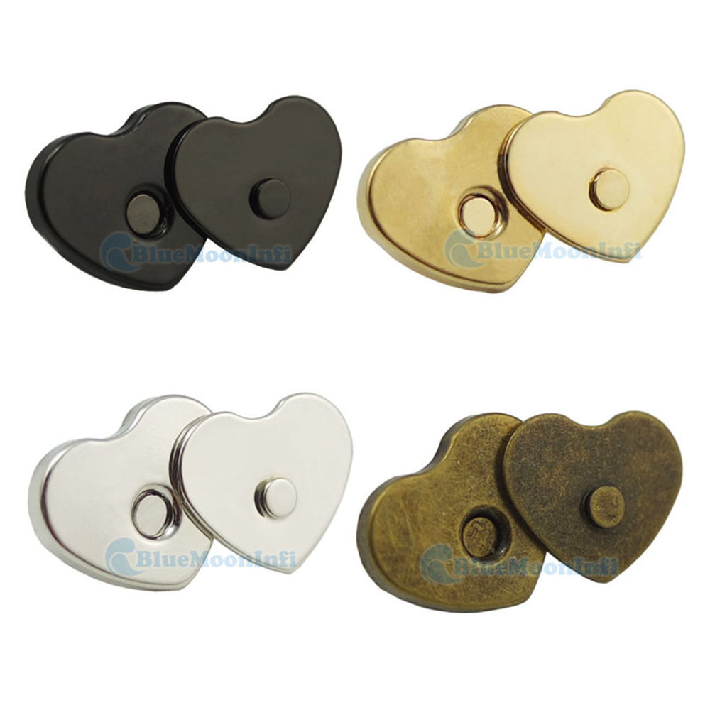 14-18 mm Heart Shape Magnetic Snaps Purse Clasp Closures Metal Bag Craft Sew
