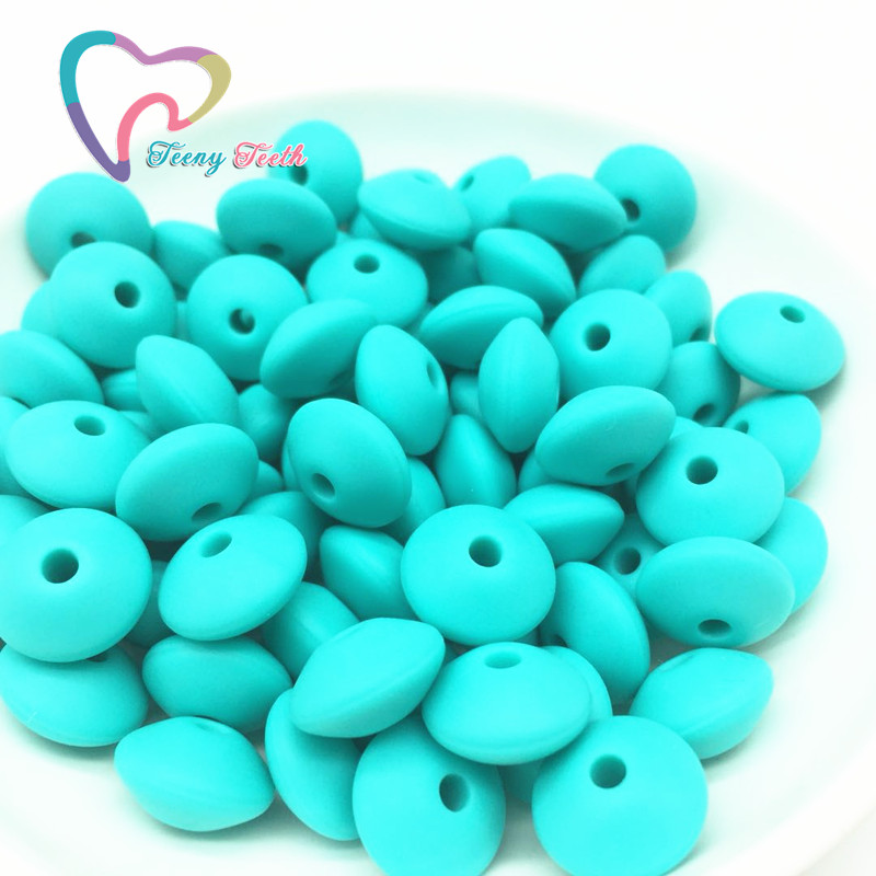 Teeny Teeth 50PCS Food Grade Silicone Lentil Beads Safe Teether Baby Chew Non Toxic BPA Free Abacus Silicone Teething Loose Bead