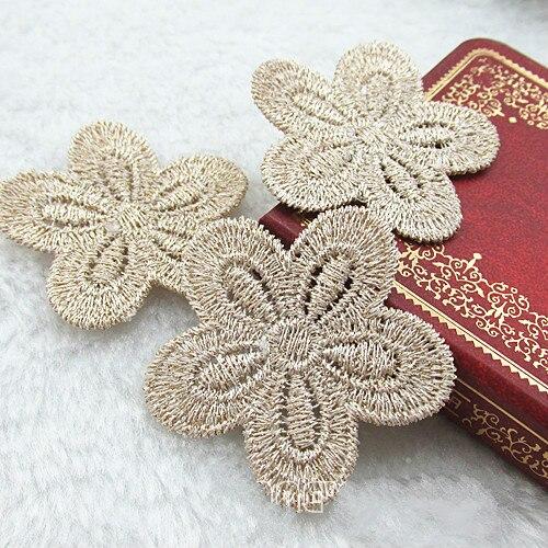 10pcs/lot 4.4X4.4cm Pink gold cute flower applique patches wedding bridal lace tennis racket bag garment accessories