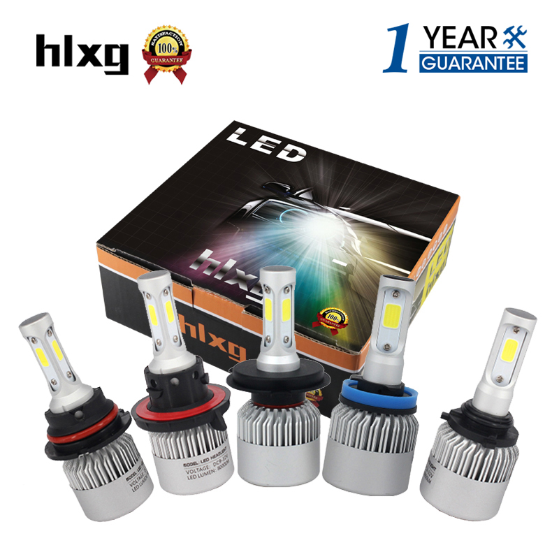 hlxg 2Pcs H4 LED H7 H11 H8 9006 HB4 COB S2 Auto Car Headlight 72W 8000LM High Low Beam Bulb All In One Automobile Lamp 6500K 12V