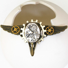 steampunk jewelry gothic bird skull head wings watch gears collar brooch pins metal men women fashion vintage cool jewelry DIY