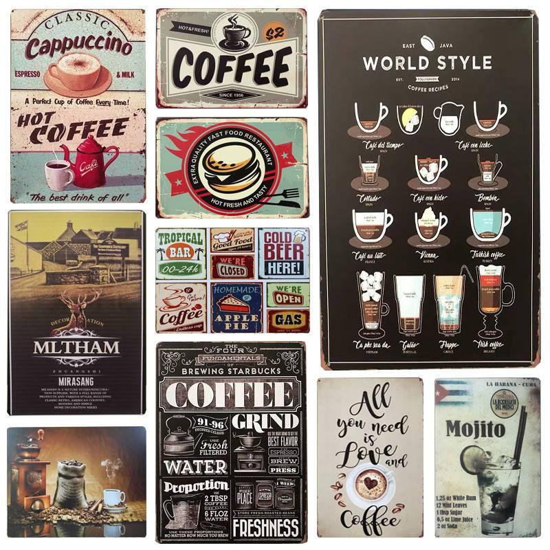 30X20cm Vintage Metal Tin Signs Wall Art Plate Drink Coffee Metal Poster Bars Kitchen Pub Cafe Wall Decor Retro Wall Sticker H12