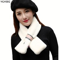 YGYEEG New Womens Winter Fashion Ring Scarf Lady Warm Scarves White Smile Plush Scarf For Women Soft White Faux Rabbit Fur Ring