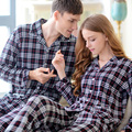 Autumn And Winter Cardigan Lovers 100% Long-sleeve Cotton Wleepwear Spring And Autumn 100% Cotton Plaid Lounge Set