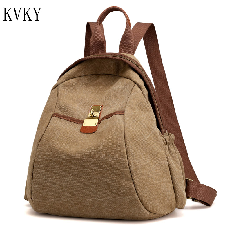2017 Brand New arrival vintage casual women canvas backpack schoolbag bag for teenagers girls bagpack Female