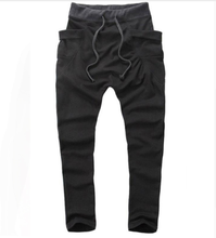 HaiFux Brand Mens Joggers 2018 Pantalon Homme Men Pants Mallas Hombre Large pockets Sweatpants Jogger Pantalones XXL cheap Harem Pants Hip Hop REGULAR COTTON Polyester Full Length Midweight Flat Broadcloth Drawstring