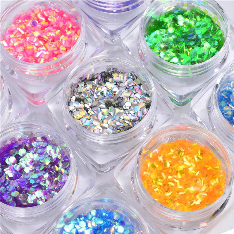 ZKO 12 Bottle/Lot Fish Scale Nail Sequins Mermaid Hexagon Glitter Sheets For DIY Nails Nail Art Tips Decorations