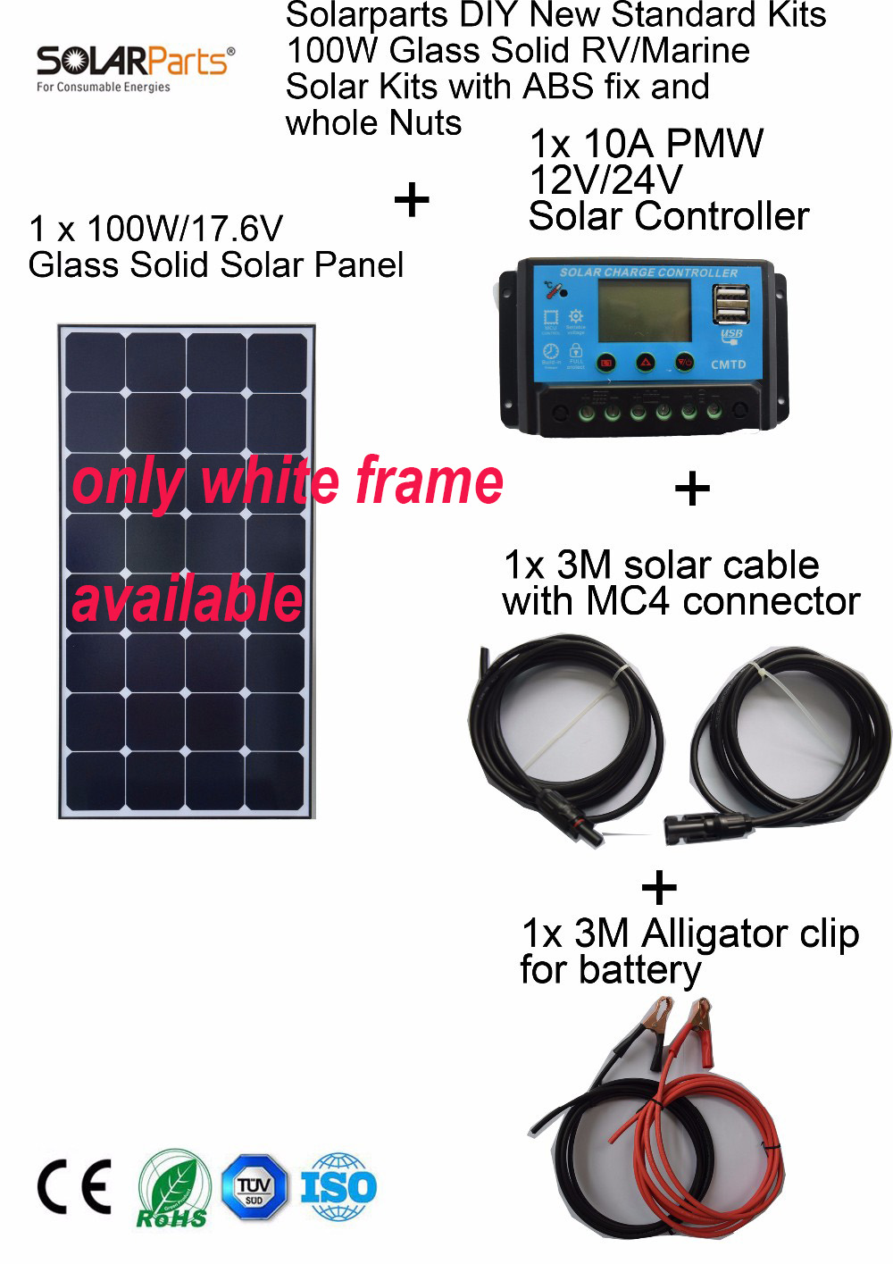 Solarparts 1x100W Monocrystalline Solar Module high efficiency back contact solar panel cell system DIY kits RV marine home camp solarparts 400pcs flexible solar cell 125 125mm back contact mono solar module 12v diy solar panel system kits rv marine camper