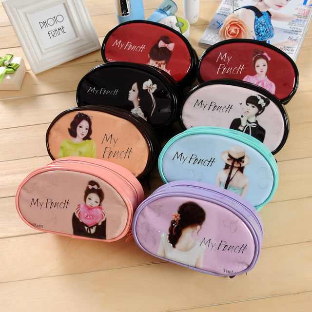 2017 Korean lovely lady semicircle Cosmetic bag Fashion Women necessaries makeup make up bag travel kit jewelry organizer