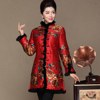 2016 Chinese Style Middle Aged Women Vintage Printing Dress Winter Long Sleeve Thicken Cotton Party Dresses