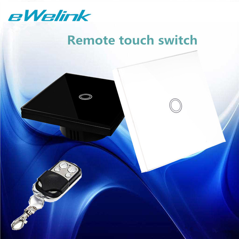 eWelink EU/UK Standard 1 Gang 1 Way Touch Switch,RF433 Wall Switch,Wireless Remote control Light Switch For Smart Home+backlight smart home uk standard crystal glass panel wireless remote control 1 gang 1 way wall touch switch screen light switch ac 220v