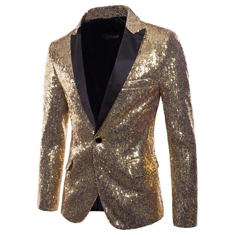 2020 男性光沢のあるゴールドスパンコールグリッター修飾語ブレザージャケットブリンブリン男性ナイトクラブ結婚式パーティースーツジャケットステージ歌手服