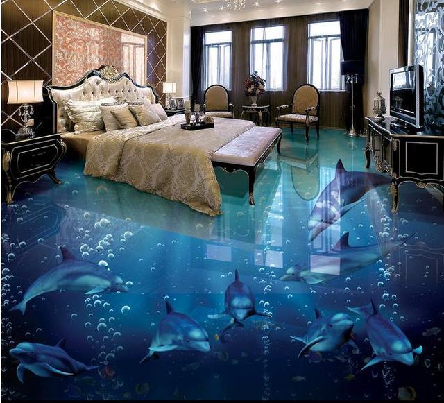 3d Bodenbelag Delfin Tapeten Für Schlafzimmer 3d Boden Malerei Tapete  Qeometric Design 3d Mural Boden