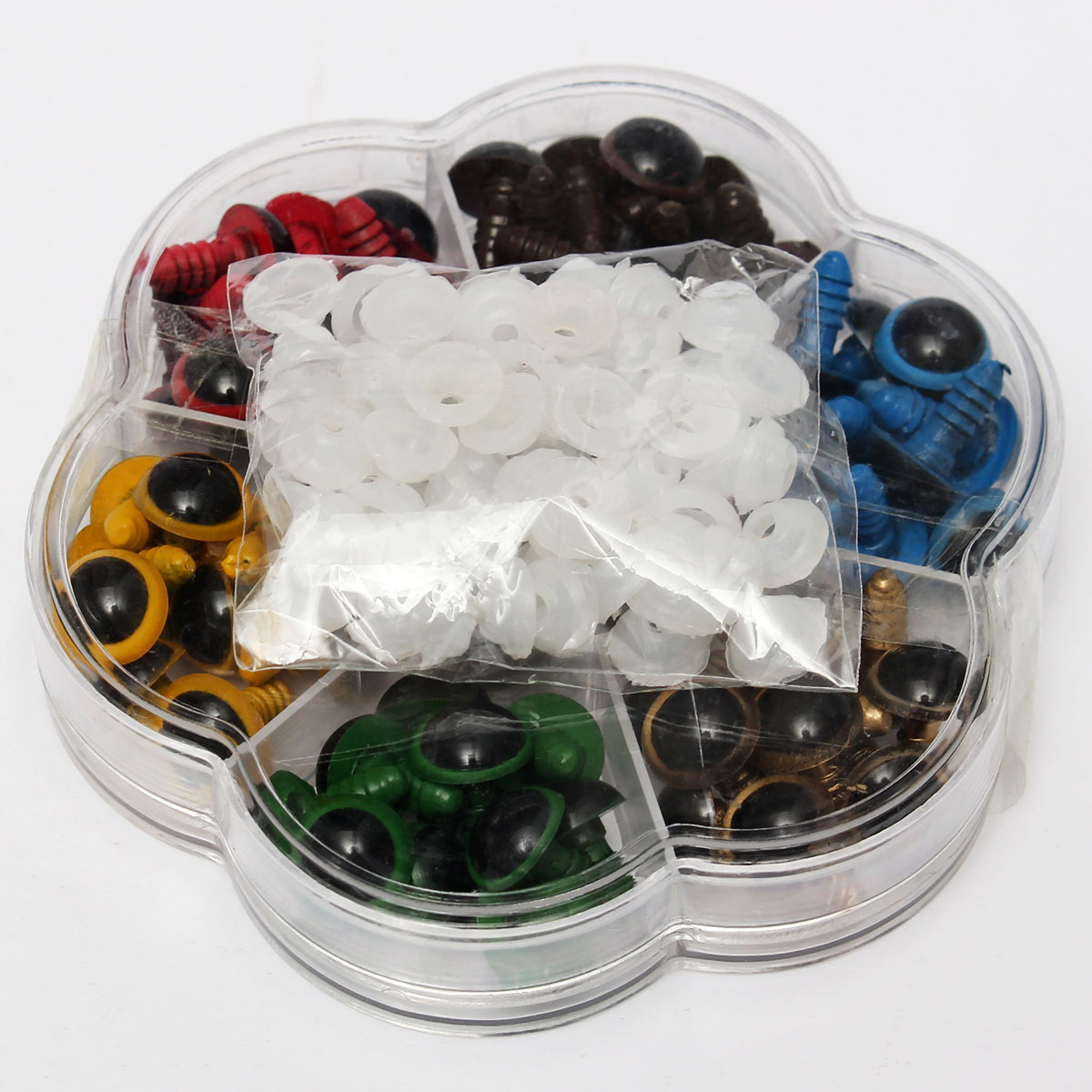 70PCS 12mm Mix 7 Colors Plastic Dolls Eyes Safety Eyes For DIY Teddy Bear Doll Animal Puppet Craft Box With Washers