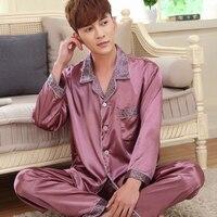 Spring Autumn Male Sleepwear Men Silk Pajama Sets Long Sleeve Pajamas Thin Lounge Nightgown Brand Fashion