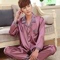 Primavera otoño ropa de noche masculina de los hombres de seda pijamas de manga larga pijama establece camisón salón delgada marca de moda casual