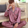 Spring autumn male sleepwear men silk pajama sets long-sleeve pajamas thin lounge nightgown brand fashion casual