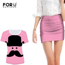 FORUDESIGNS Pink 3D Moustache Women's Set Summer Casual T Shirt And Sexy Skirt 2 Two Piece Set Woman Tops Feminine Clothes 2017