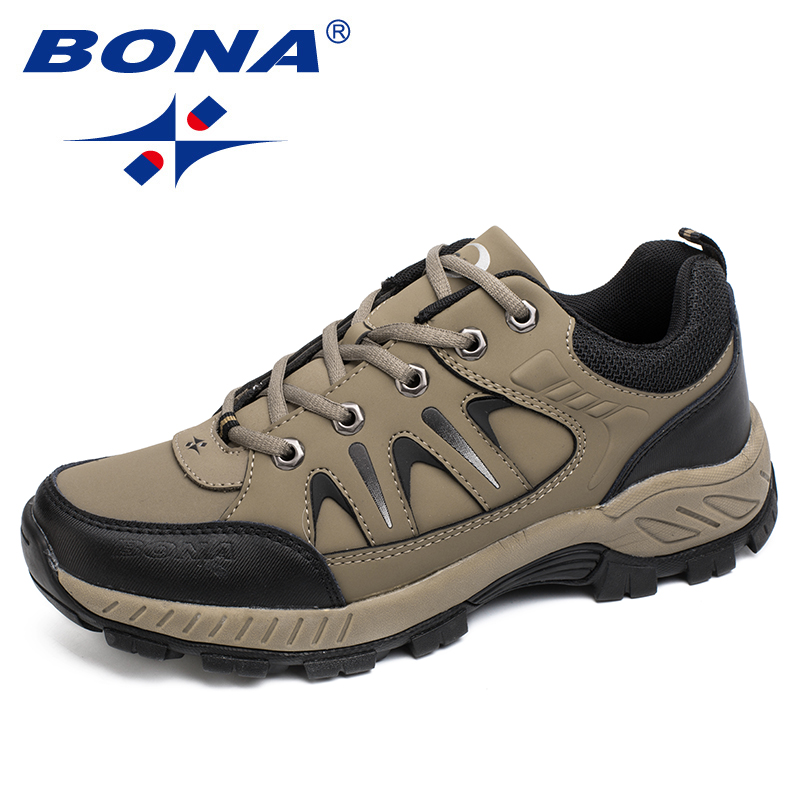 BONA New Classics Style Men Hiking Shoes Lace Up Men Athletic Shoes Outdoor Walking Trekking Sneakers Light Fast Free Shipping peak sport men outdoor bas basketball shoes medium cut breathable comfortable revolve tech sneakers athletic training boots