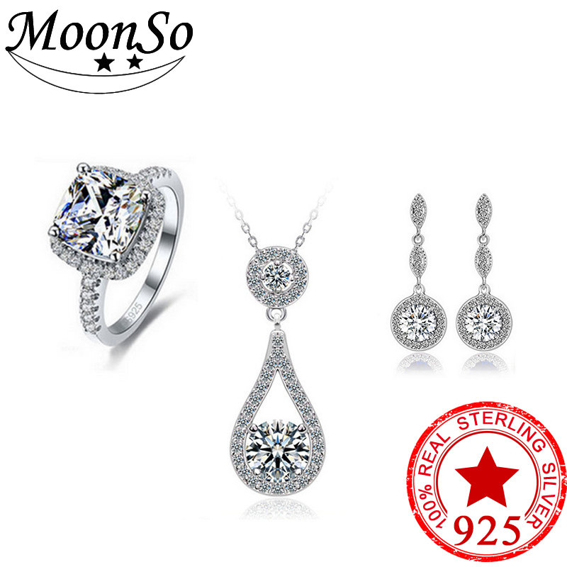 Moonso Multicolor CZ Stone Wedding Engagement Bridal Real Sterling Silver 925 Genuine Simulated Jewelry Sets for women LJ901S luxury brand 100% real 925 sterling silver jewelry sets luxury cz diamant wedding engagement bridal sets for women african ys052