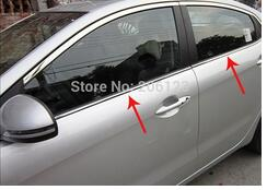 2011-2012 for KIA Rio/K2 4dr High quality stainless steel window trim strip(down,a Set of 4pcs) free shipping 2011 2012 kia rio k2 4dr high quality stainless steel window trim strip down a set of 4pcs