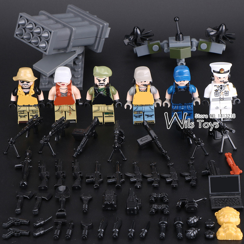 6pcs Wolf Warriors MILITARY Army World War SWAT Soldiers Weapon Special Forces Navy Seals Building Blocks Figures Toys for Boys enlighten military educational building blocks toys for children gifts army cars assassin sniper gun world war hero weapon