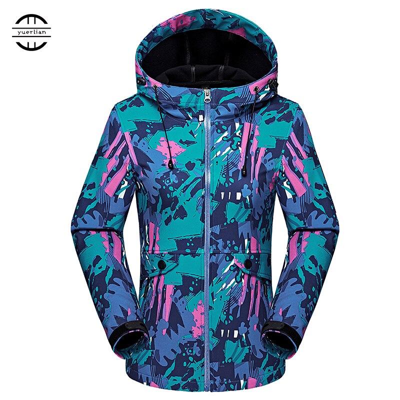 Yuerlian Outdoor Winter Climbing Camping Hiking softshell Jacket Waterproof Windproof Fleece Windbreaker Women Warm Ski Coat