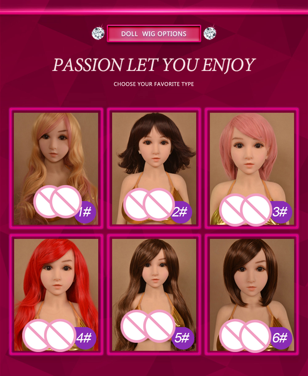 WM <font><b>Doll</b></font> Wig for <font><b>100cm</b></font> <font><b>sex</b></font> <font><b>doll</b></font> and silicone real <font><b>doll</b></font> free shipping image