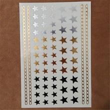 Star Tattoo Gold Silver Pentagram Pattern Combination Tattoo Sticker Waterproof Sexy Body Art Stickers