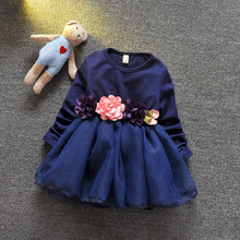 new children's wear spring autumn dresses 2016 Korea edition long-sleeved dress Kids baby princess gauze colth of the girls