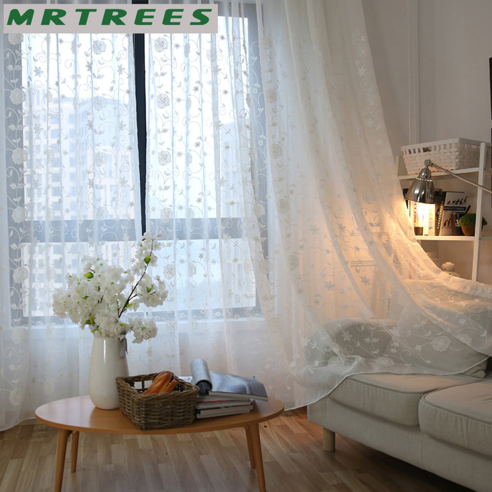 aliexpress.com : acquista mrtrees lino bianco ricamato puro tende ... - Tende Country Camera Da Letto