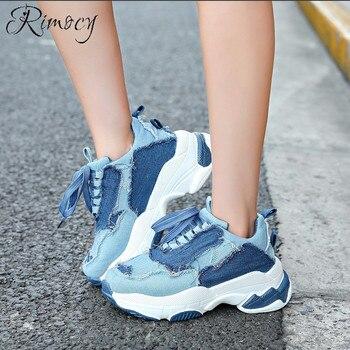 Sneakers Planos Mujer Plataforma Vintage Encaje Patchwork Casual Up Otoño Destroy Invierno Denim Moda 2018 Zapatos Blue Rimocy qaACwxa