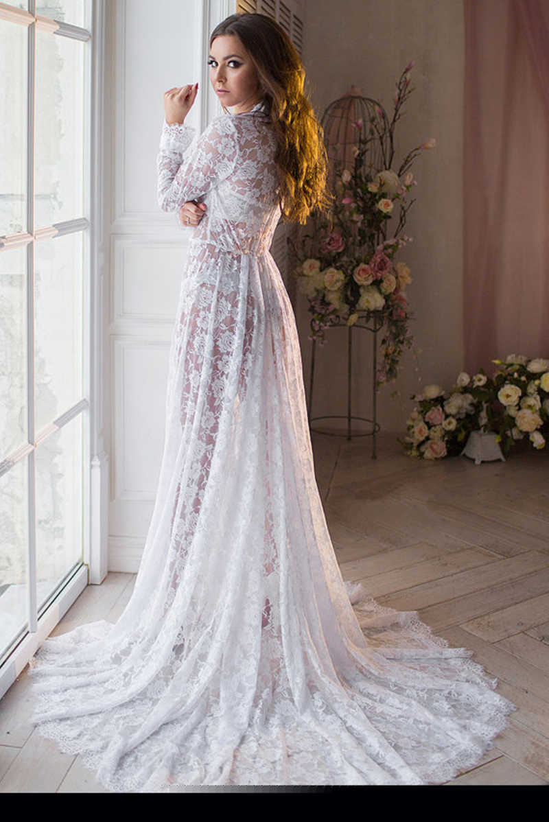 16b1d5d9f5a9f Sexy Women Lace Robes Nightwear Lounge White Bridal Nightgowns Bathrobe  Women Lace Maxi Dress Lace Trimmed Bridal Party Robes