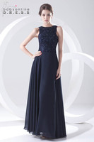 New Navy Blue Lace Beaded 2019 Floor Length Chiffon Elegant Bridesmaid Dresses Wedding Party Dresses Prom Gown Vestidos