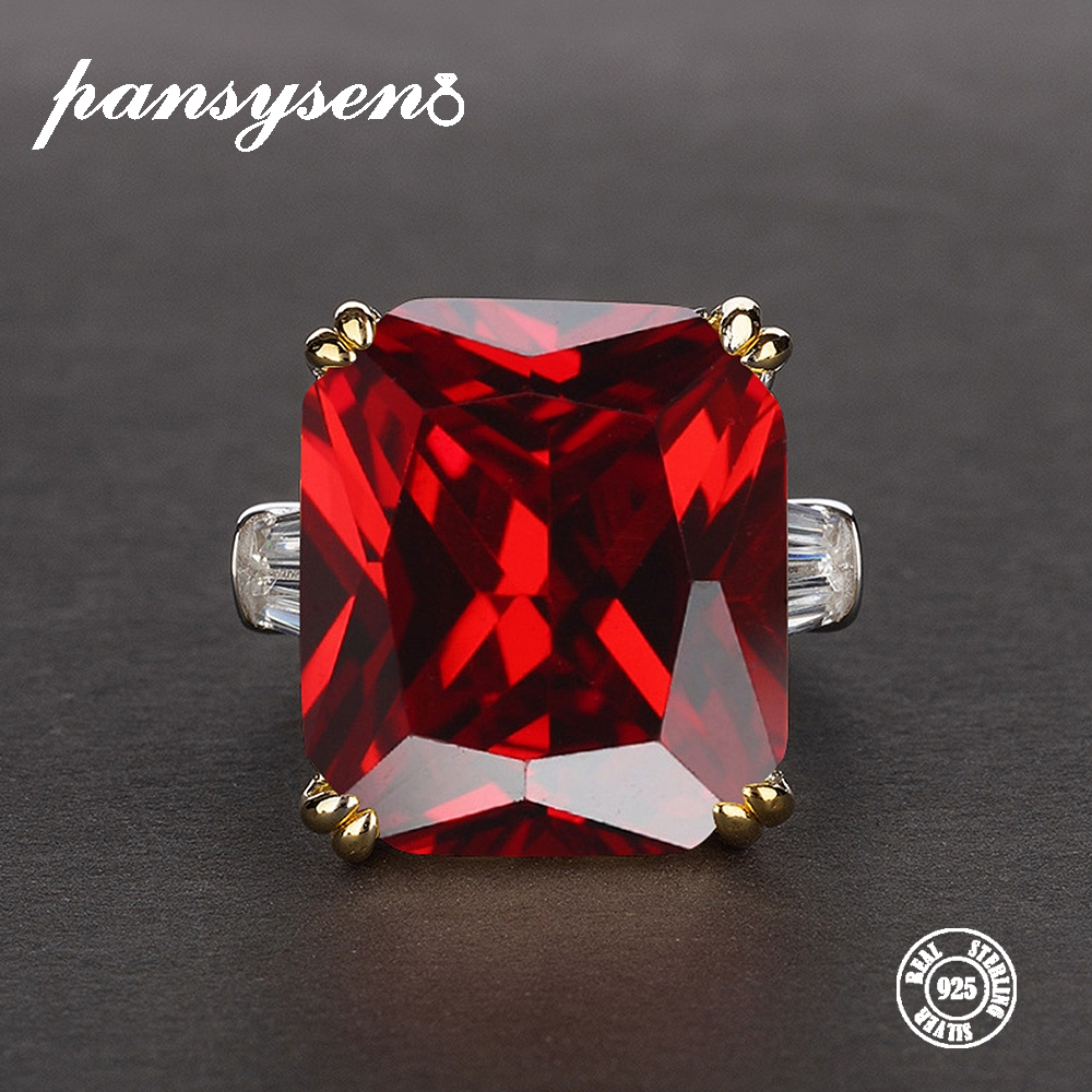 PANSYSEN Charms 14x16mm Big Ruby Gemstone Rings For Women Men Genuine 925 Sterling Silver Engagement Finger Ring Fine Jewelry
