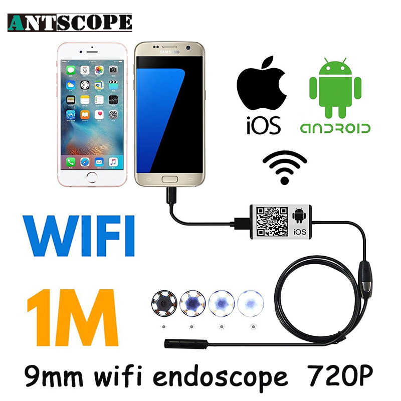 Antscope Iphone Endoscope HD 9mm WiFi Endoscope Camera 1M Inspection Android Endoskop Waterproof Camera 720P for IOS Android 7mm lens mini usb android endoscope camera waterproof snake tube 2m inspection micro usb borescope android phone endoskop camera