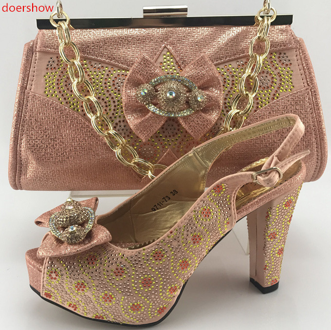 Doershow Top Quality Rhinestone Green Wedding Evening Shoes And Bag Set Popular Italian Online WI1 13 In Womens Pumps From
