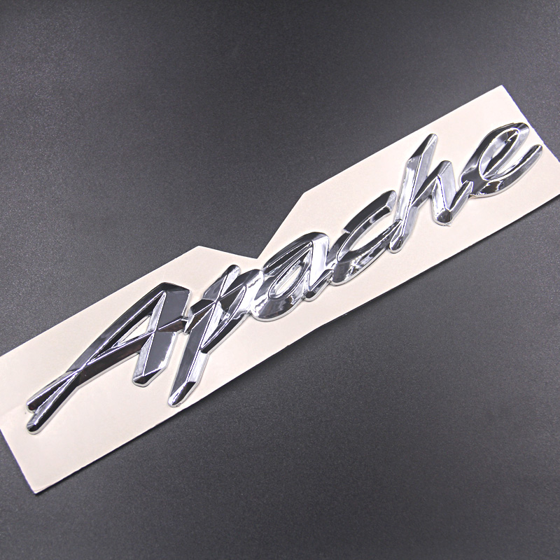 2pcs APACHE motorcycle logo badge retrofitted vehicle logo silver metal cross section glue LOGO for TVS Apache